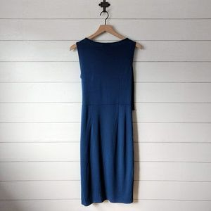 LOFT Dresses - LOFT Blue Wrap Top Sleeveless Tie Midi Dress 8
